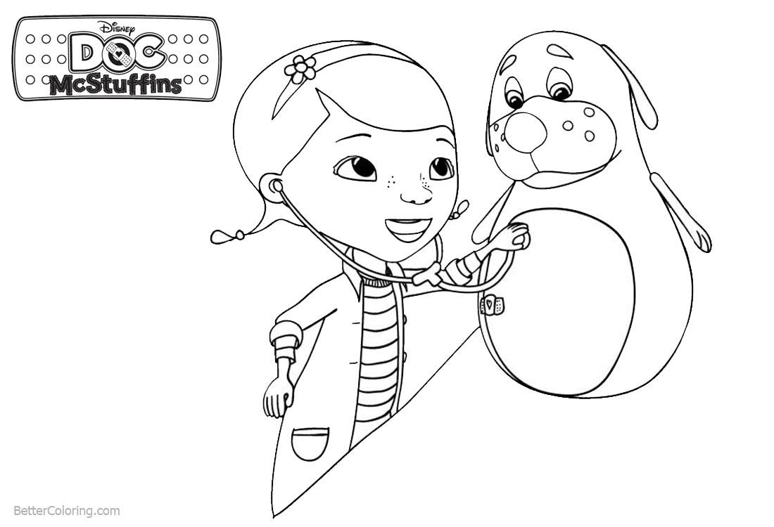 Doc McStuffins Coloring Pages Dottie with Patient printable for free