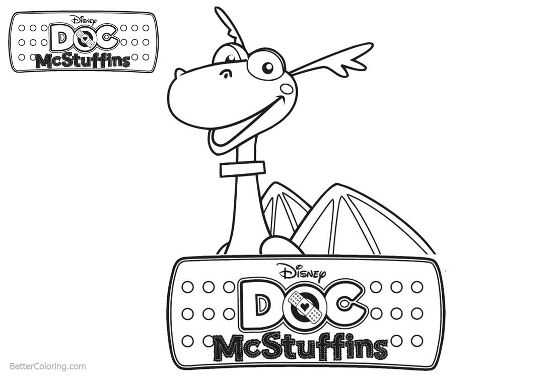 Doc McStuffins Coloring Pages Dragon Stuffy printable for free