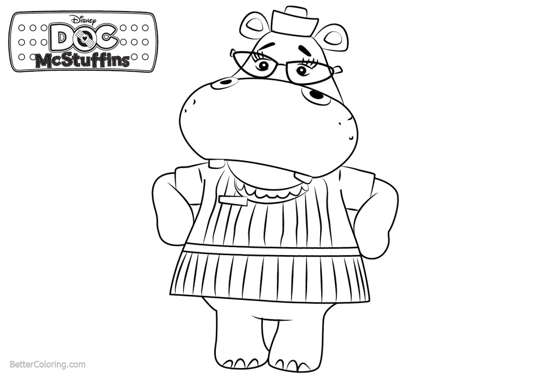 Doc McStuffins Coloring Pages Hippo Hallie printable for free