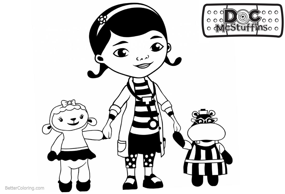 Doc McStuffins Coloring Pages Lambie Hallie and Dottie printable for free