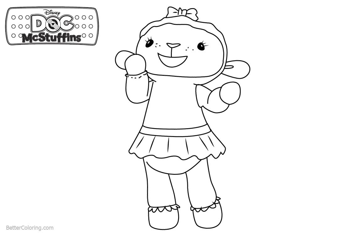 Doc McStuffins Coloring Pages Lambie Line Drawing printable for free
