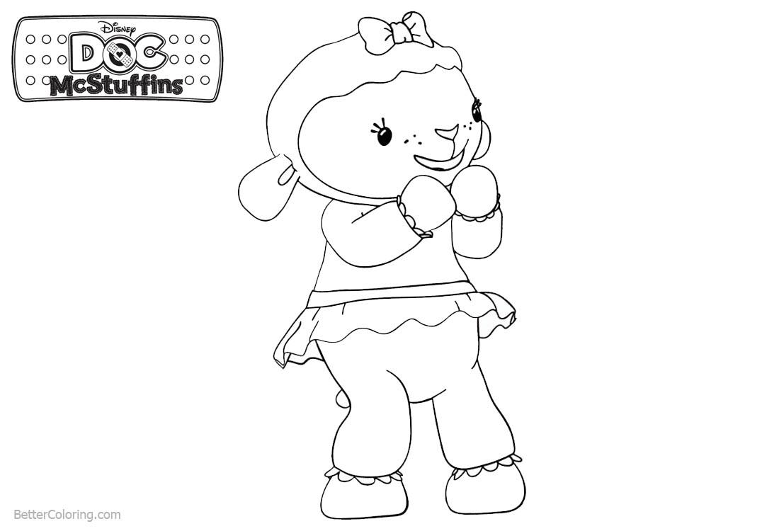 Doc McStuffins Coloring Pages Lambie Lineart - Free Printable ...