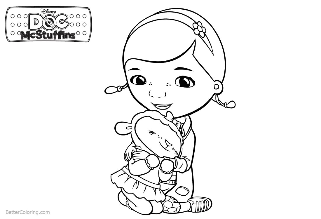 Doc McStuffins Coloring Pages Lambie and Dottie Free Printable