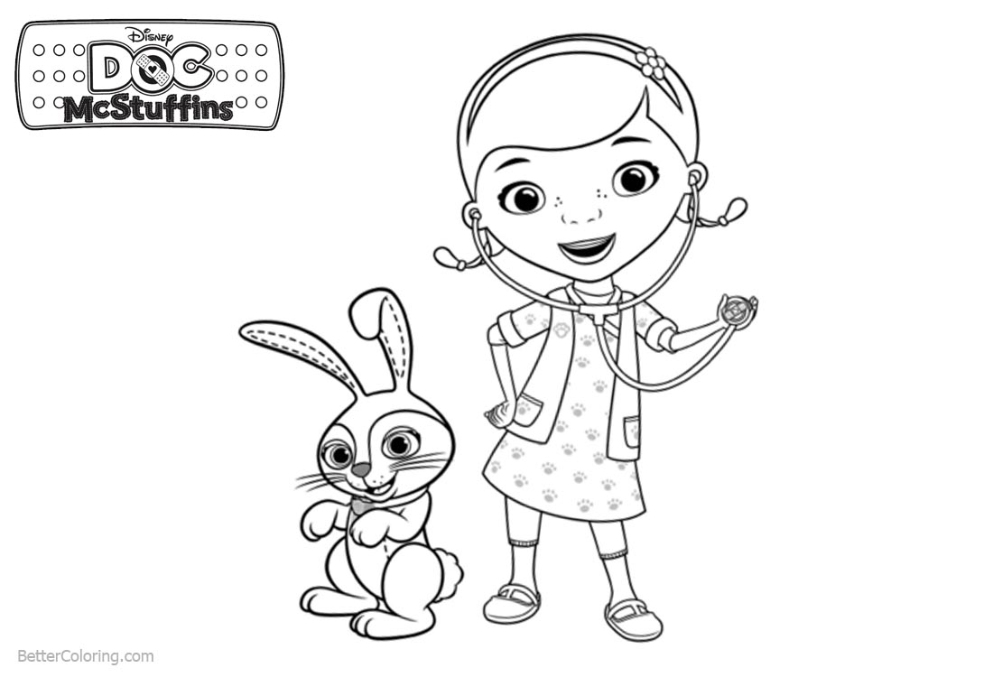 Doc McStuffins Coloring Pages Rabbit and Dottie printable for free