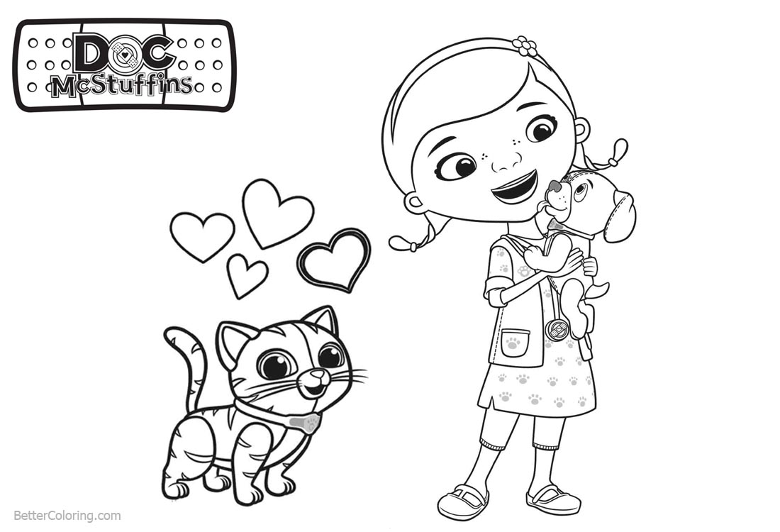 Doc McStuffins Coloring Pages with Dog and Cat printable for free