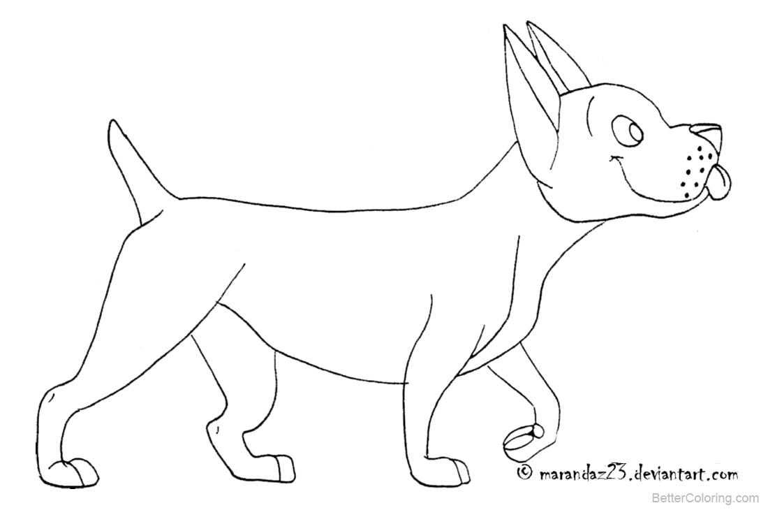 Dog Coloring Pages Line Drawing Picture printable for free