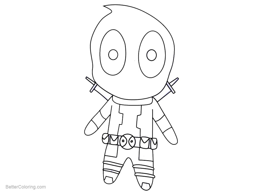 Easy Chibi Deadpool Coloring Pages