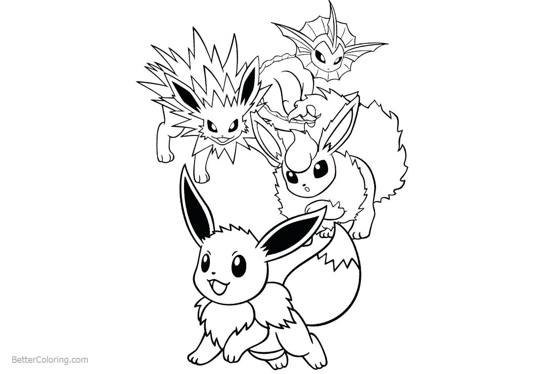 Eevee Coloring Pages Evolutions printable for free