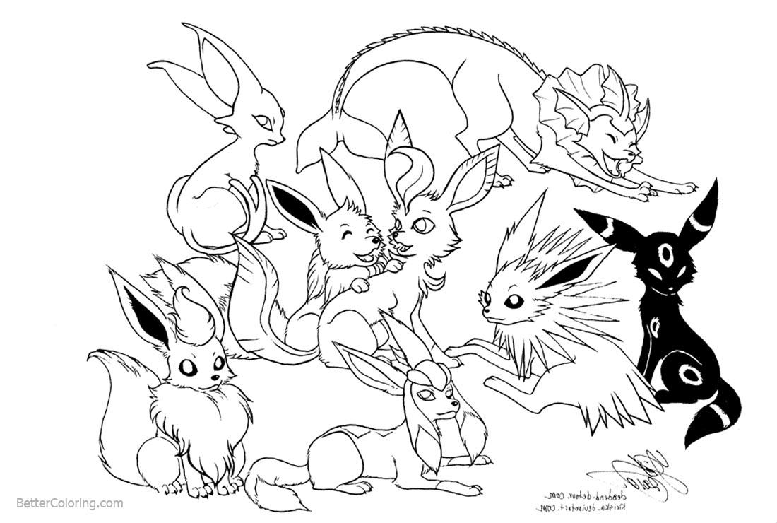 Eevee Coloring Pages Fan Art Eevee Evolutions - Free Printable ...