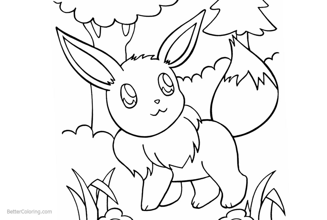 Eevee Coloring Pages In the Woods printable for free