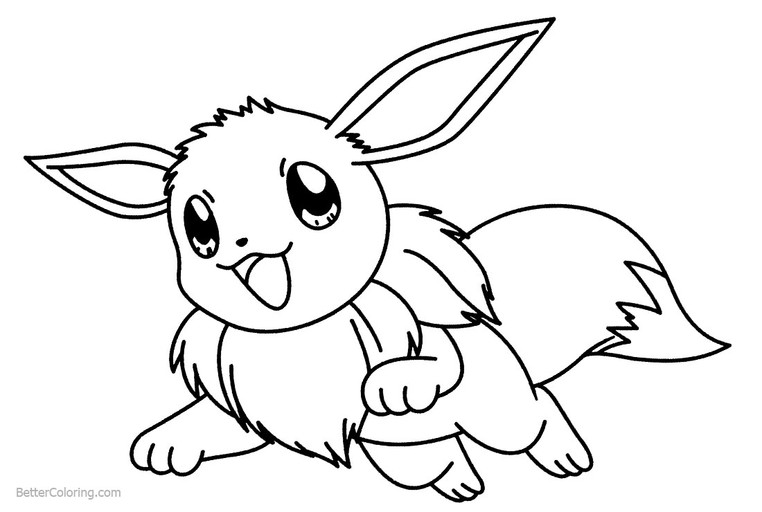 Eevee Coloring Pages Jumping printable for free
