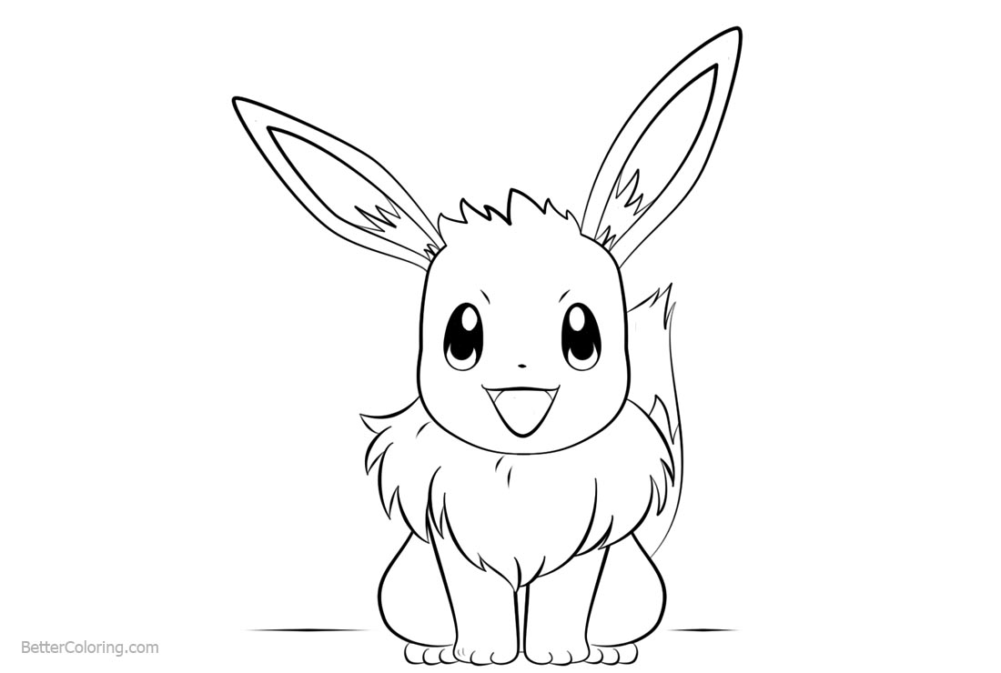 Eevee Coloring Pages Line Art printable for free