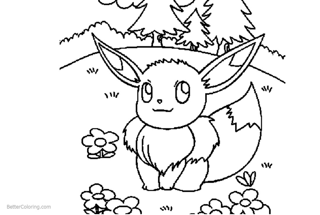 Eevee Coloring Pages Outdoor - Free Printable Coloring Pages