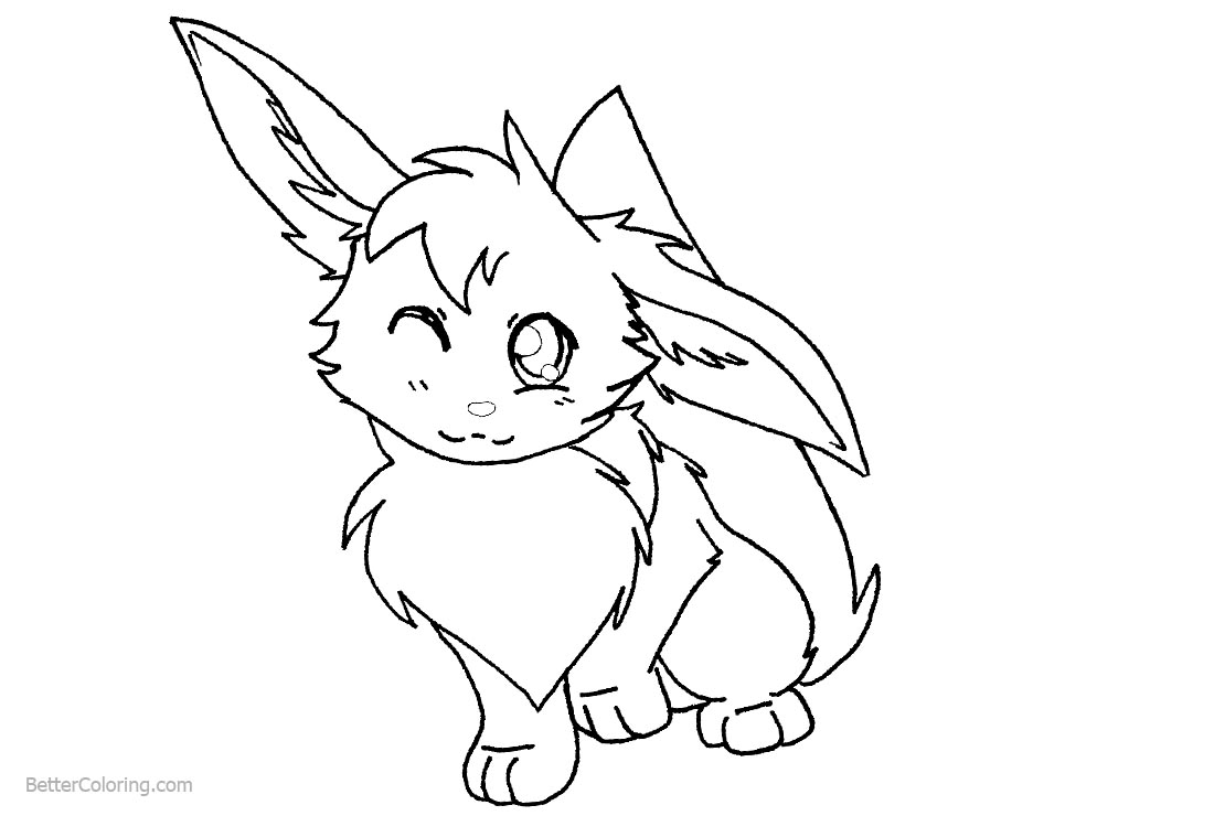 Eevee Coloring Pages by angelespeon printable for free