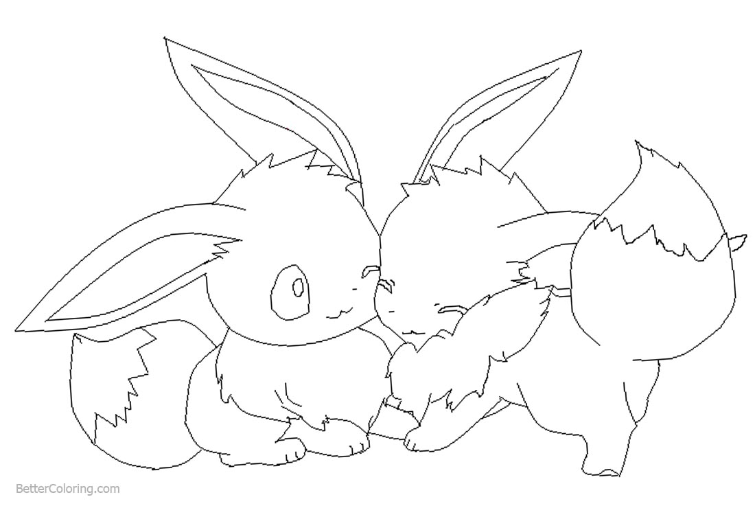 Eevee Coloring Pages by wolftears123 printable for free