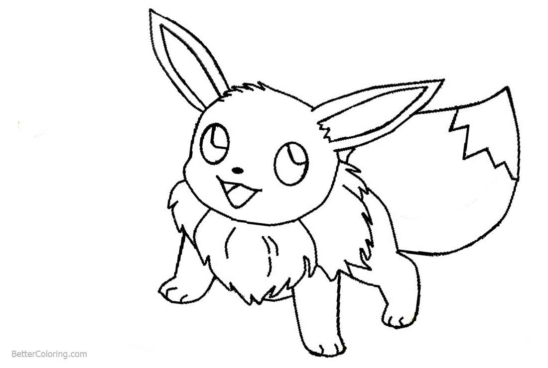 Eevee Coloring Pages from Pokemon - Free Printable Coloring Pages