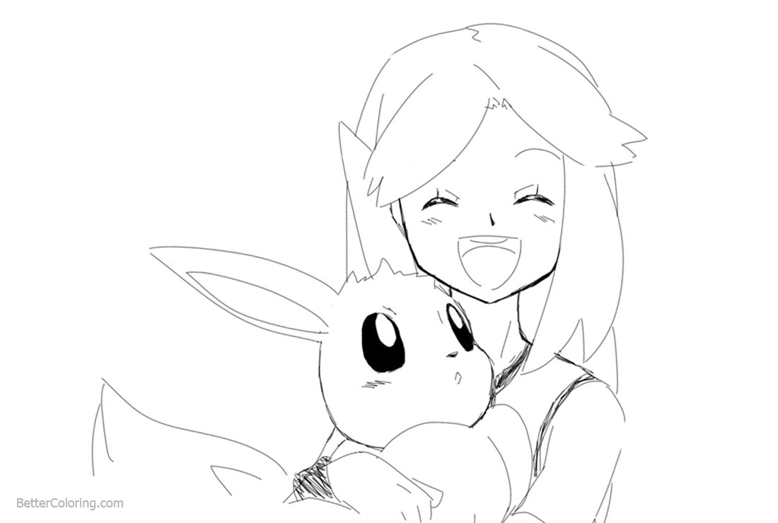 Eevee Coloring Pages with A Girl - Free Printable Coloring Pages