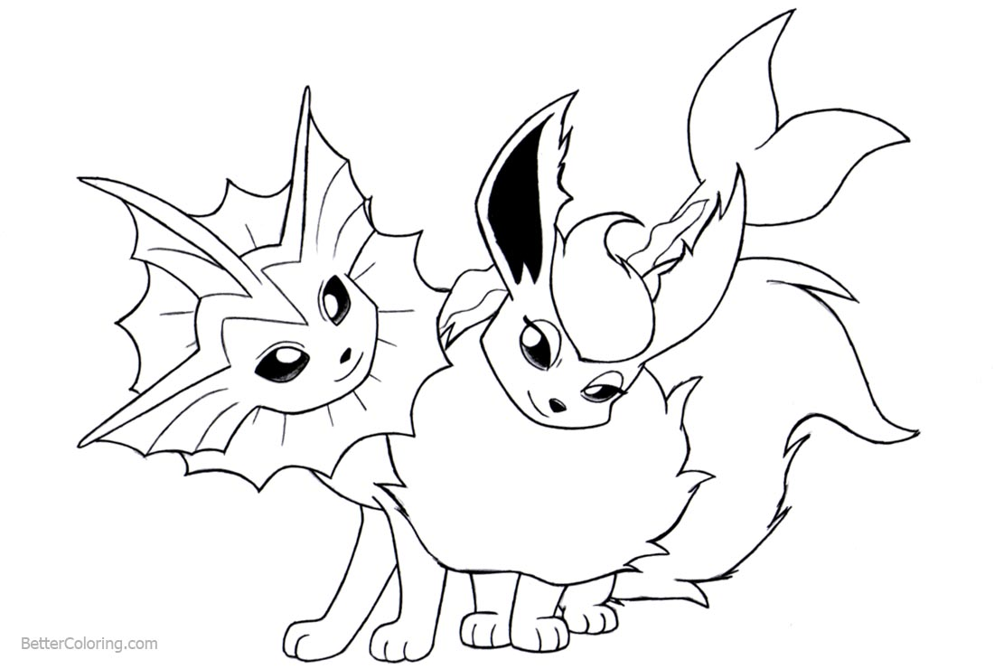 Eevee Coloring Pages with Friend printable for free