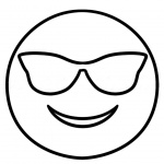 Emojis Coloring Pages Smile with Glass