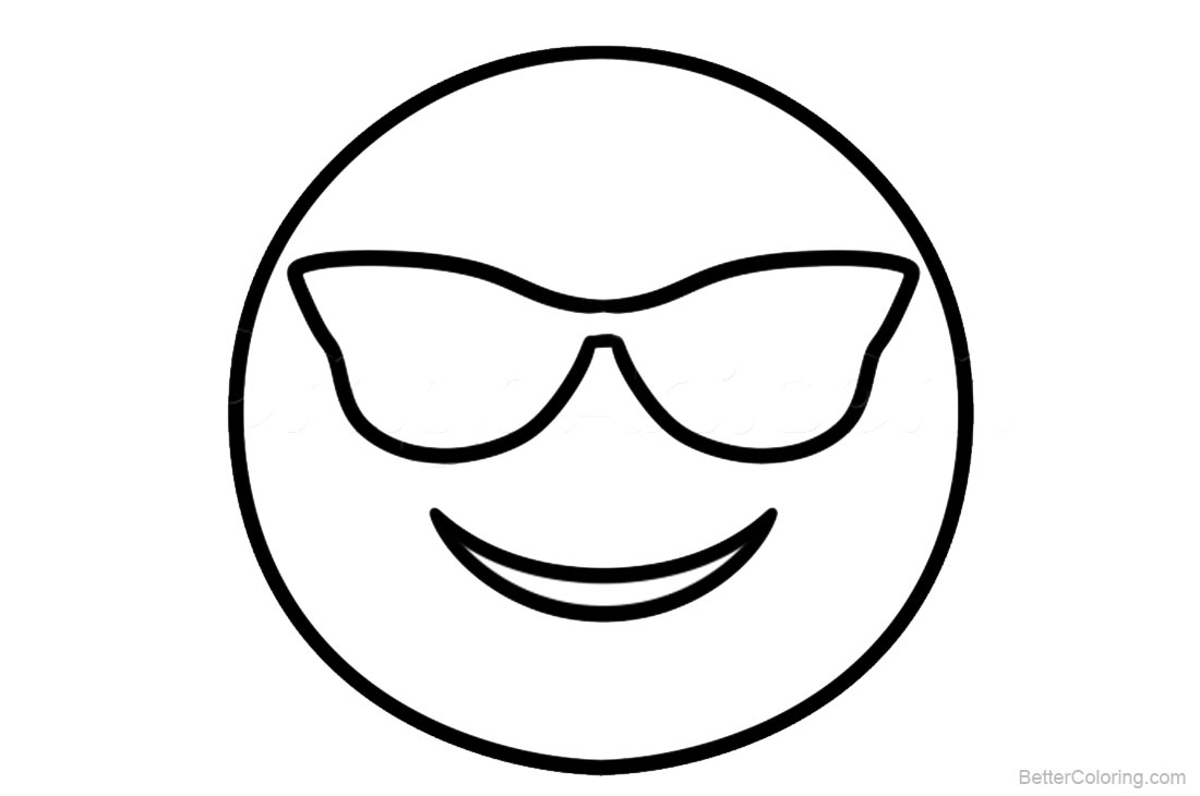 Emojis Coloring Pages Smile With Glasses