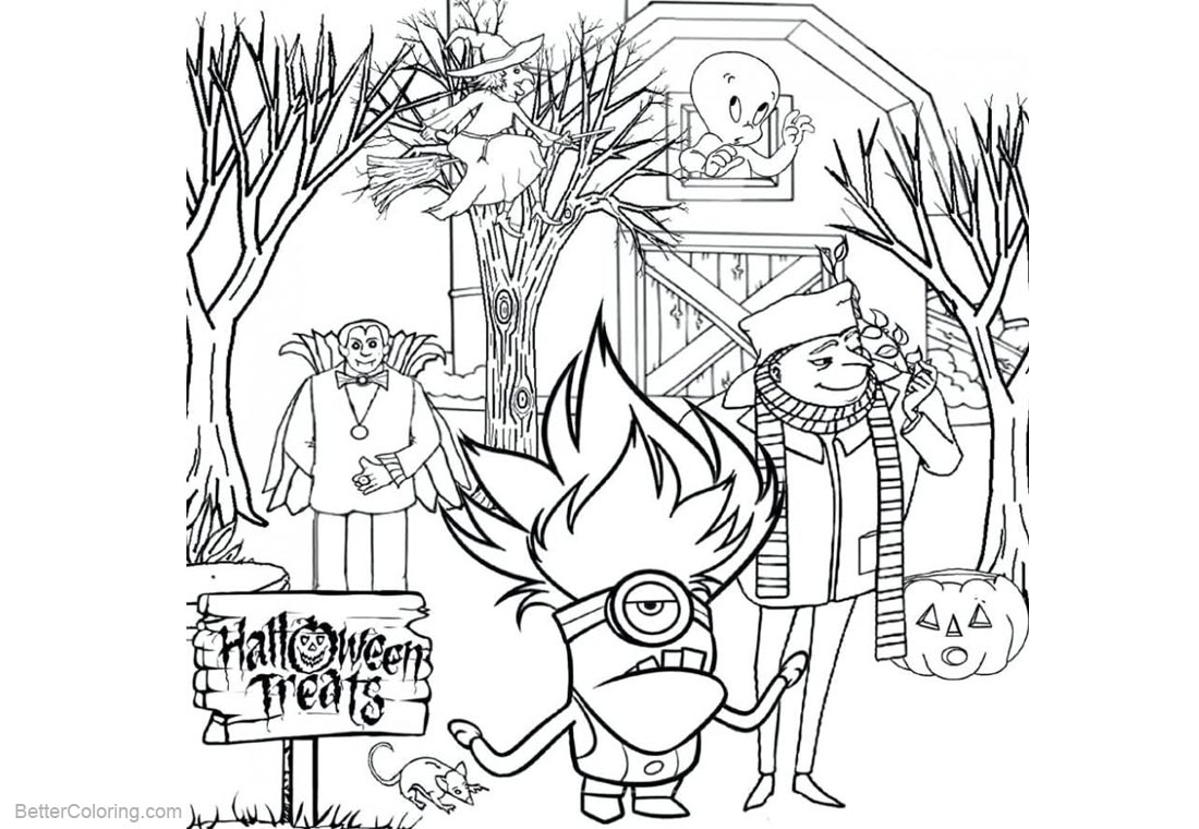 Evil Minion Coloring Pages Halloween printable for free