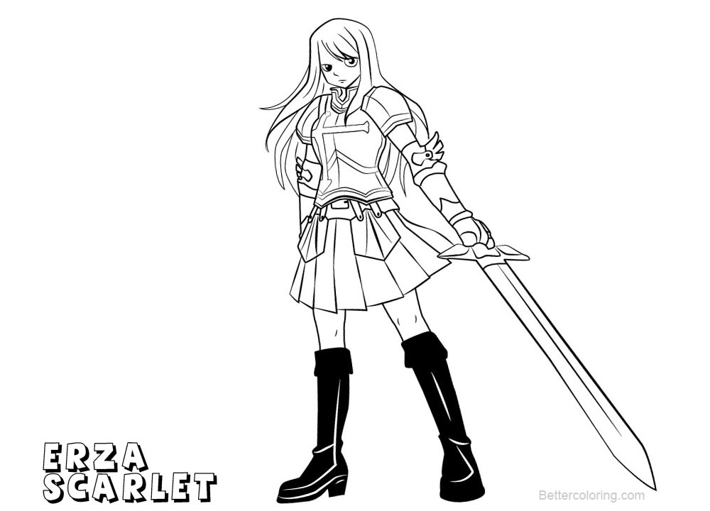 Fairy Tail Coloring Pages Erza Scarlet Free Printable