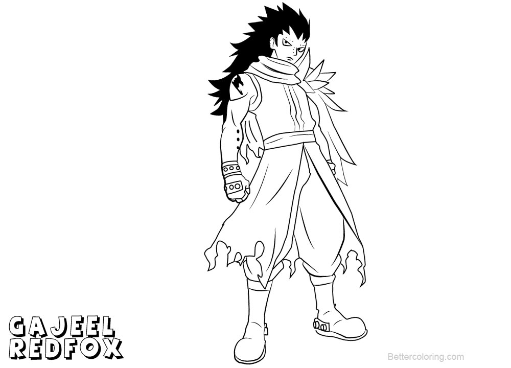 Fairy Tail Coloring Pages Gajeel Redfox Free Printable