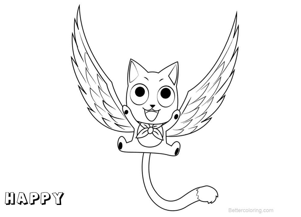 fairy tail coloring pages for adults | Fairy Tail Coloring Pages Happy - Free Printable Coloring ...