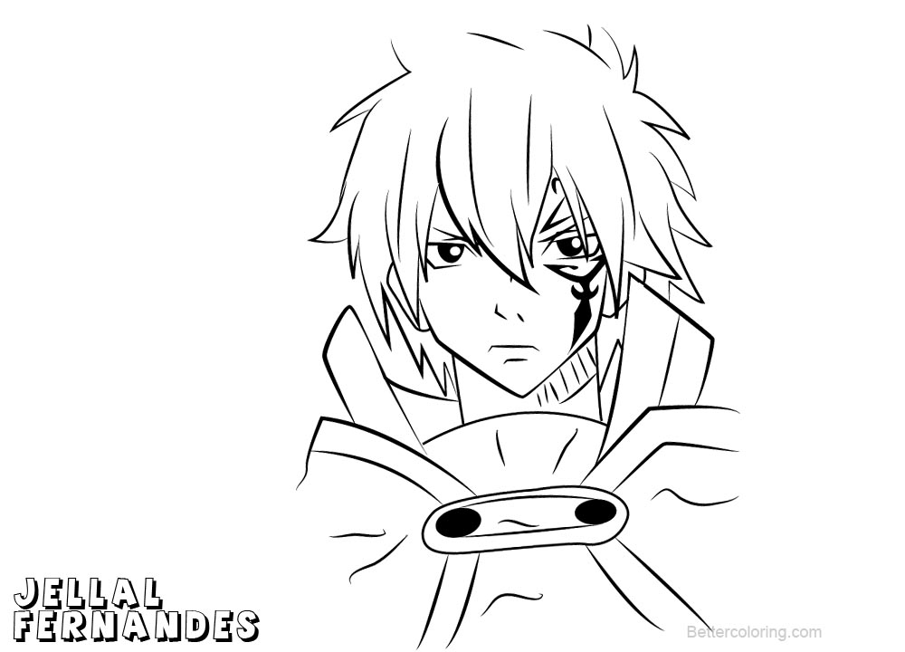 Fairy Tail Coloring Pages Jellal Fernandes Free Printable Coloring