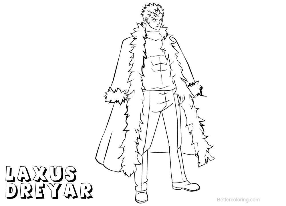 Free Fairy Tail Coloring Pages Laxus Dreyar printable