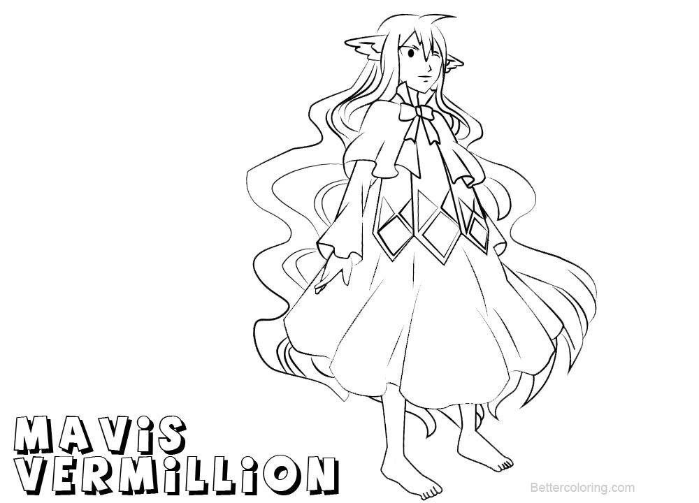 Free Fairy Tail Coloring Pages Mavis Vermillion printable