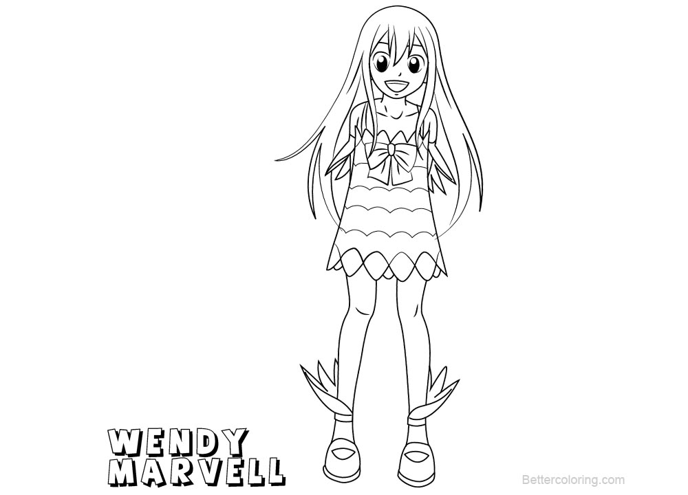 Fairy Tail Coloring Pages Wendy Marvell Free Printable