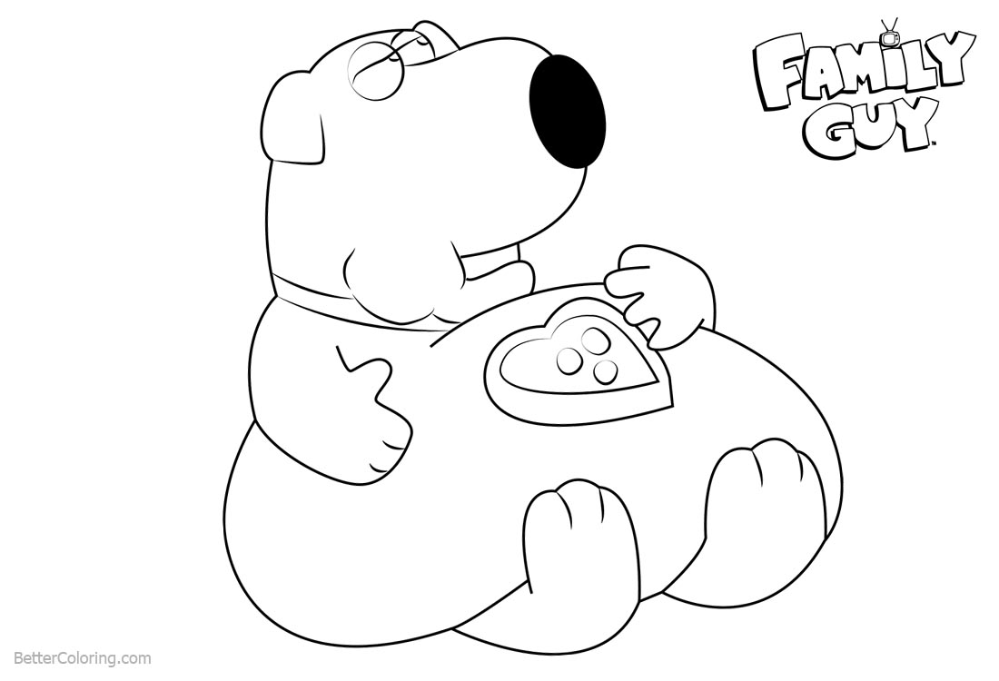 Family Guy Coloring Pages Brian Have A Rest printable for free