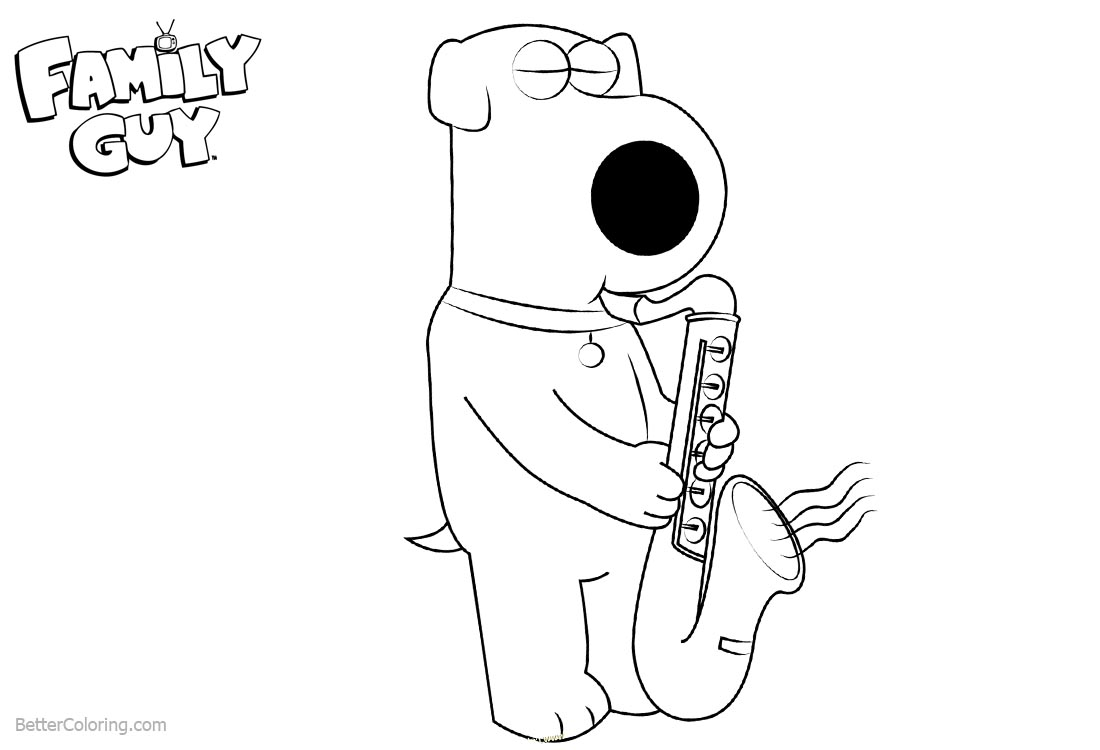 Family Guy Coloring Pages Brian Playing Saxophone printable for free