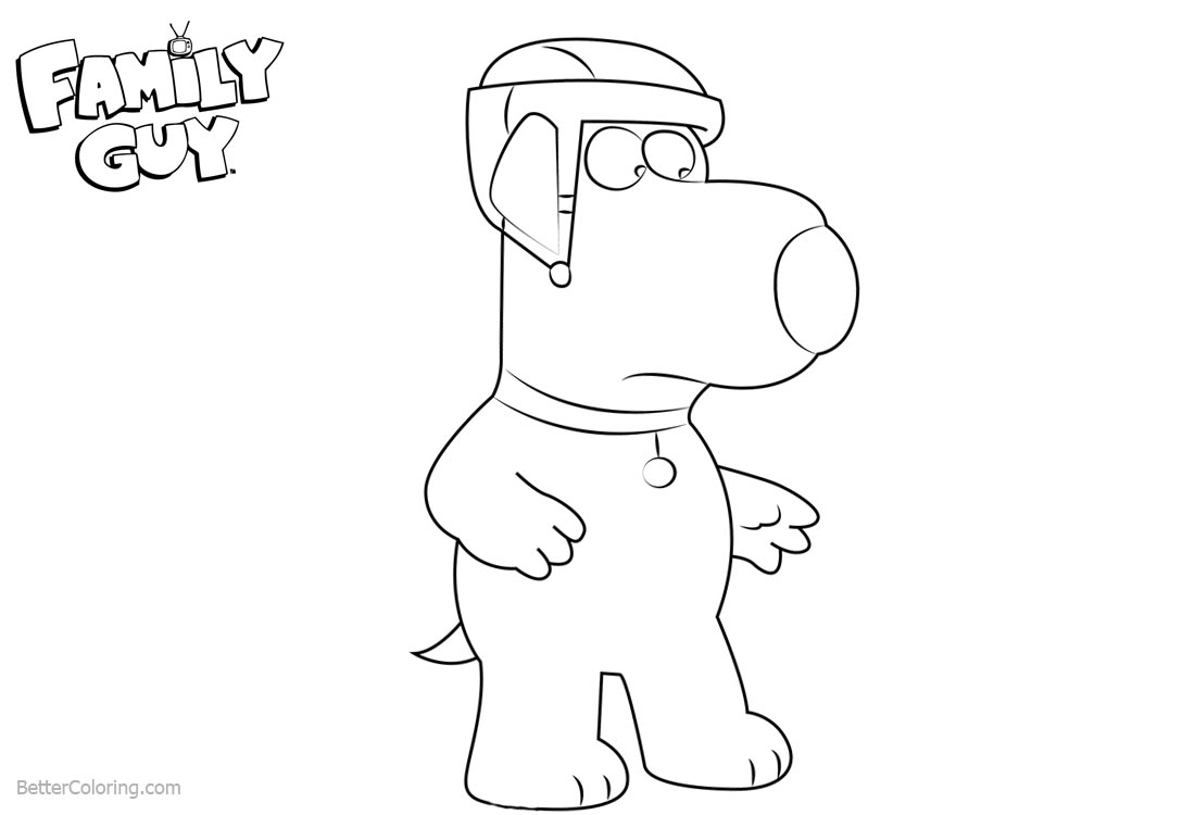 Family Guy Coloring Pages Brian With Helmet printable for free