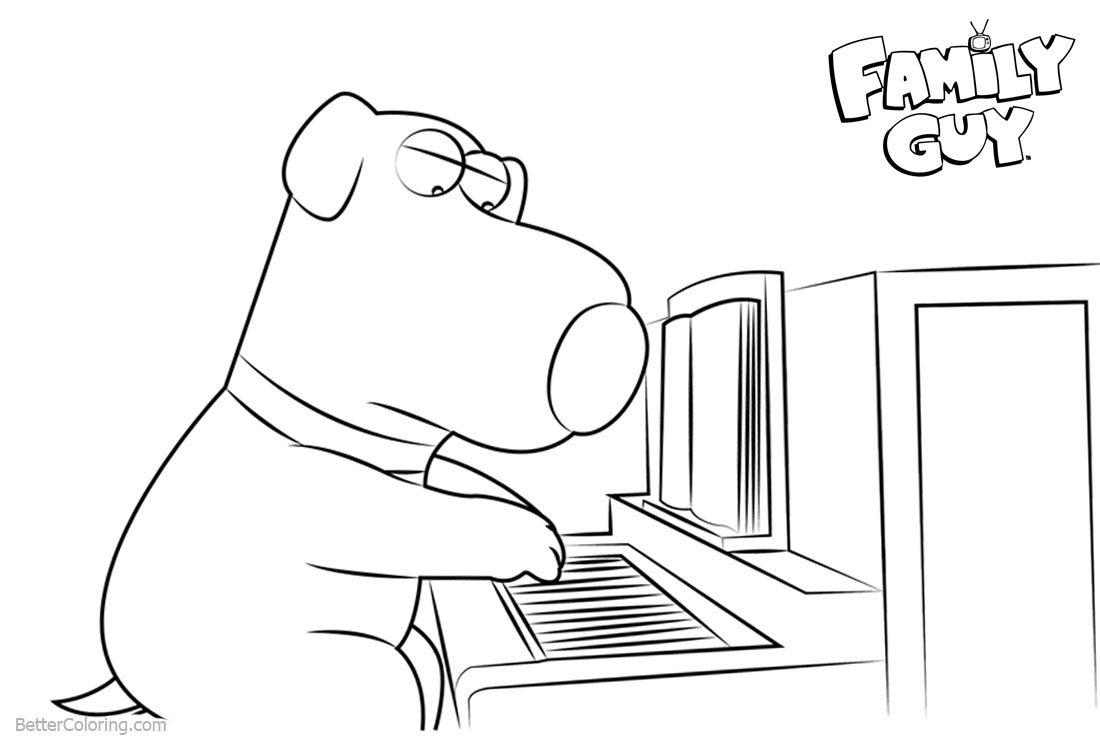 Family Guy Coloring Pages Brian With Piano - Free Printable Coloring ...