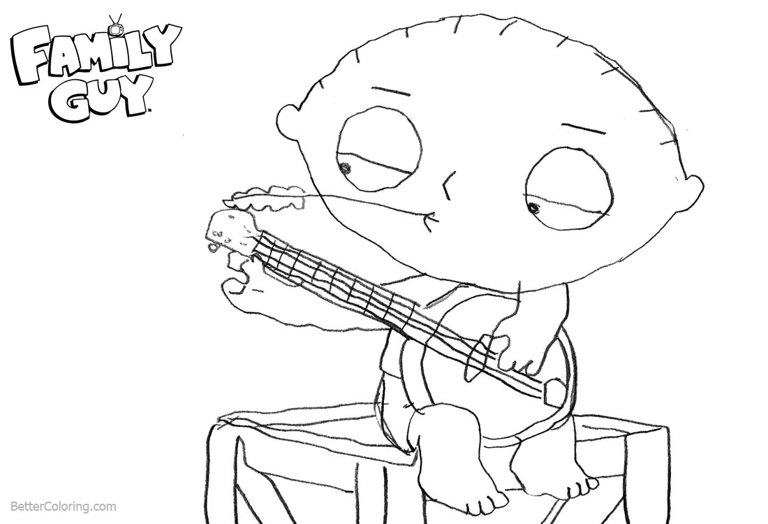 Family Guy Coloring Pages Brian is Playing Music printable for free