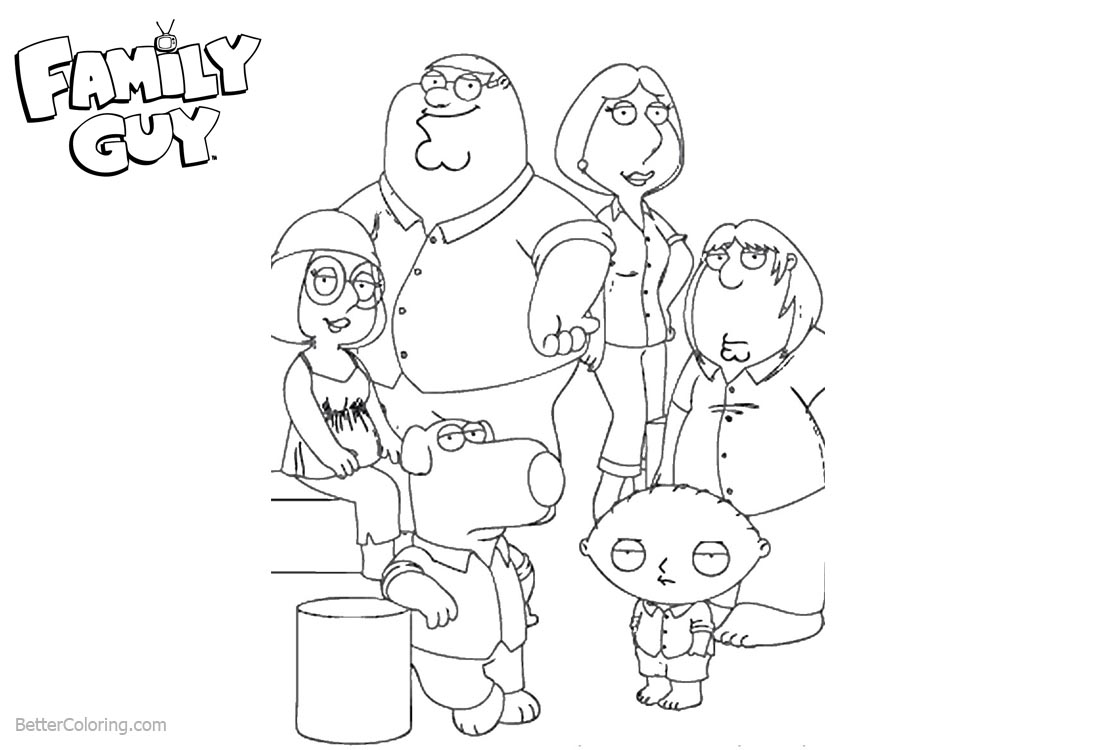 Family Guy Coloring Pages Characters printable for free