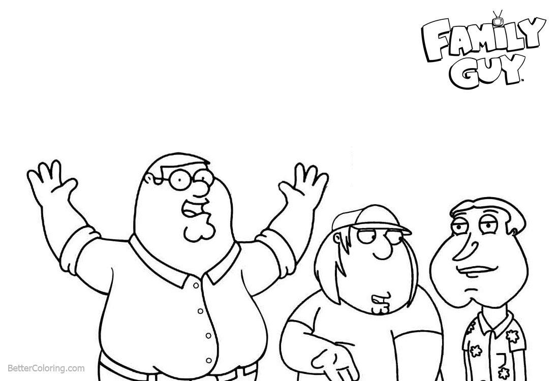 Family Guy Coloring Pages Glenn Chris and Peter printable for free