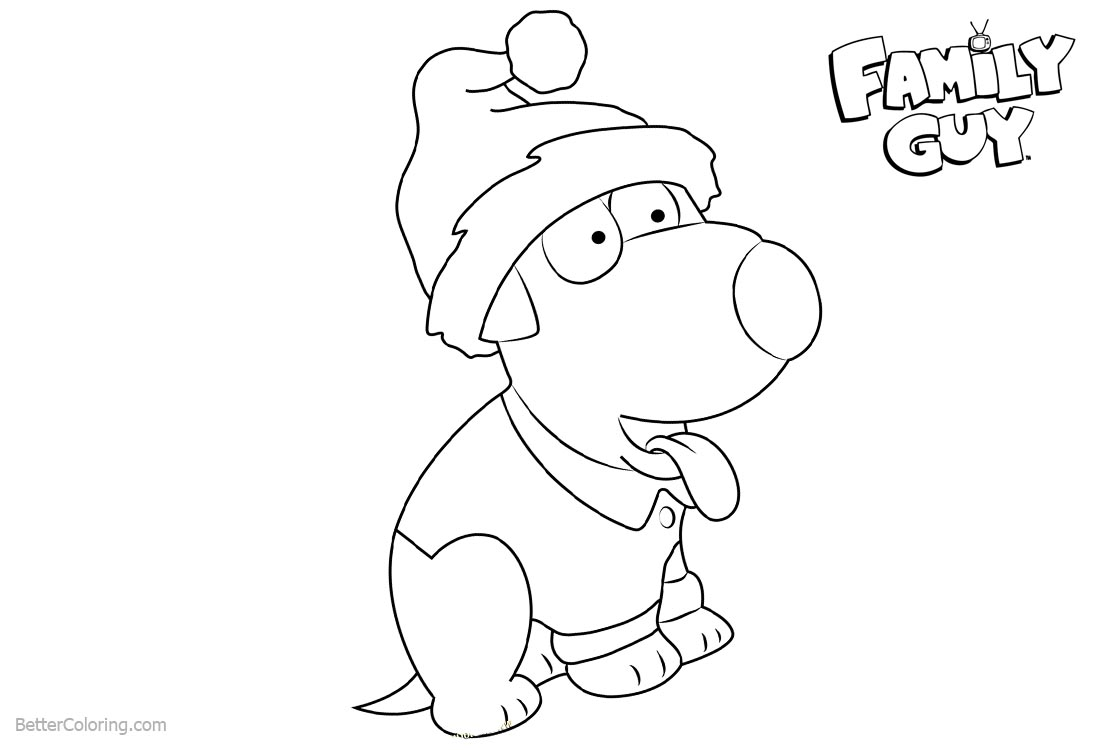 Family Guy Coloring Pages Happy Christmas printable for free