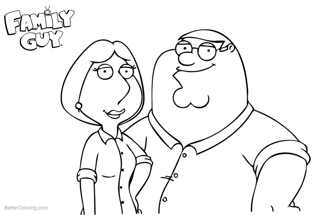 Family Guy Coloring Pages Peter and Lois - Free Printable Coloring Pages