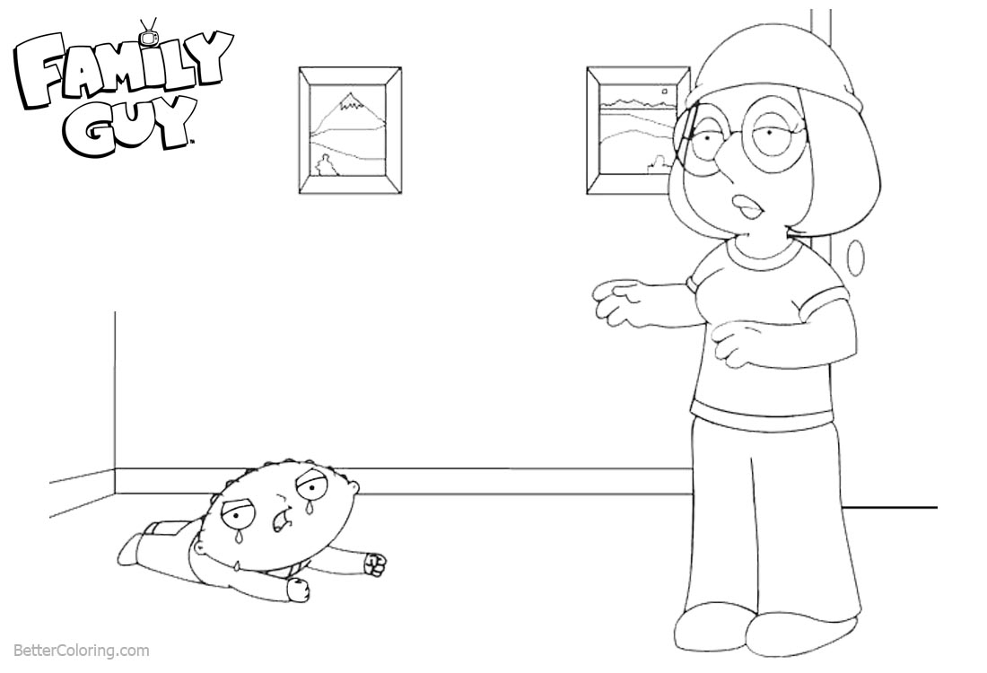 Family Guy Coloring Pages Stewie Crying printable for free