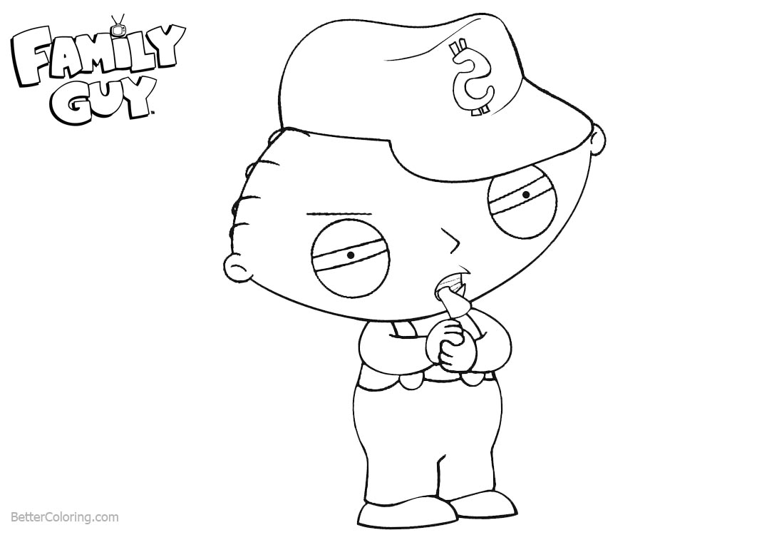Family Guy Coloring Pages Stewie Eating Something printable for free