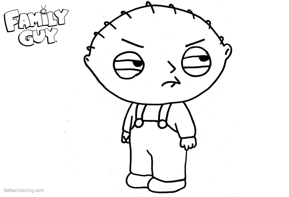 coloring pages family guy stewie | Family Guy Coloring Pages Stewie Lineart - Free Printable ...