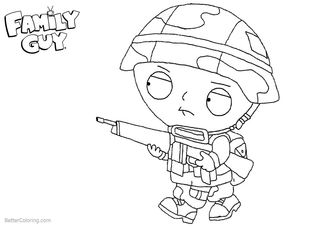 Family Guy Coloring Pages Stewie with Weapon printable for free