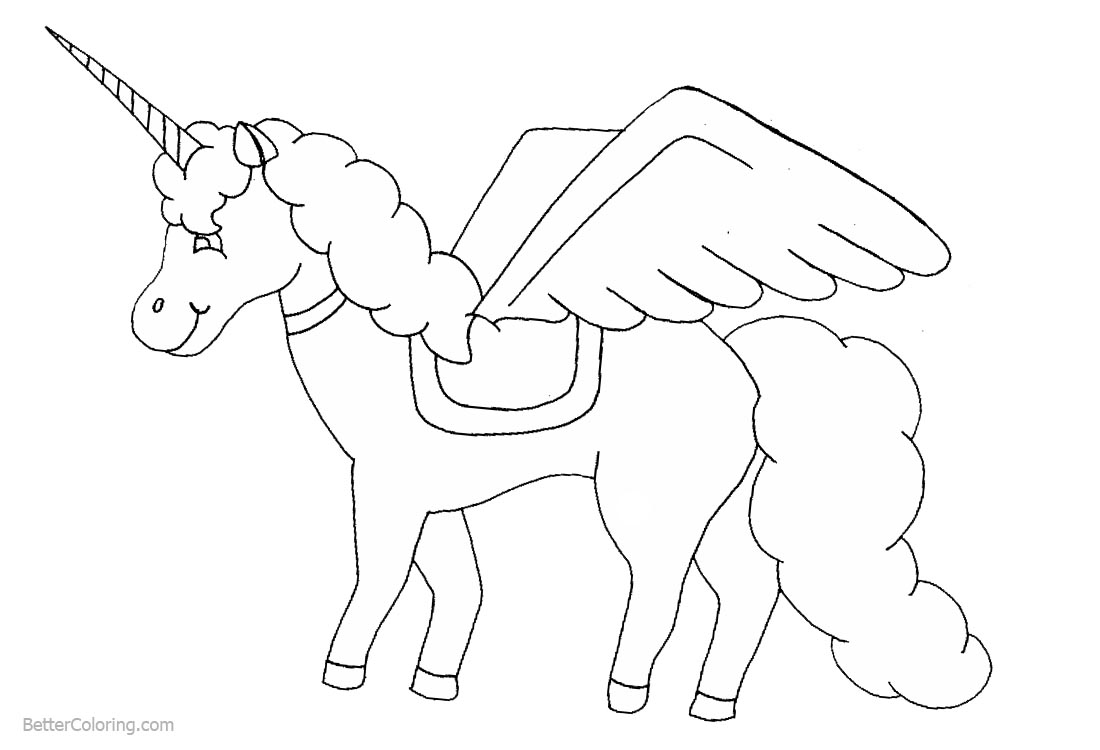 Female Unicorn Coloring Pages Winged printable for free