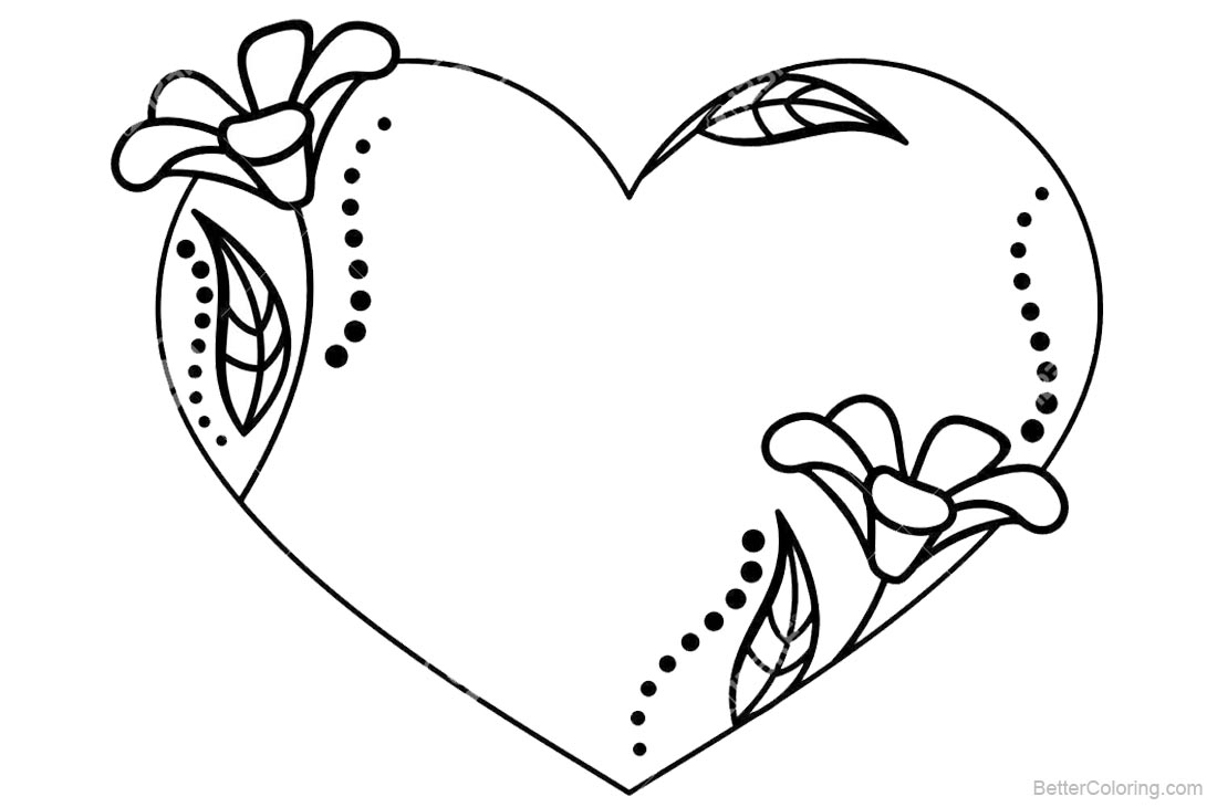 Floral Valentines Day Coloring Pages printable for free