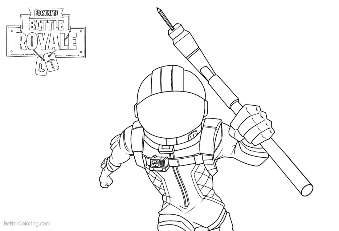 Fortnite Coloring Pages Characters Line Drawing Black and White printable for free