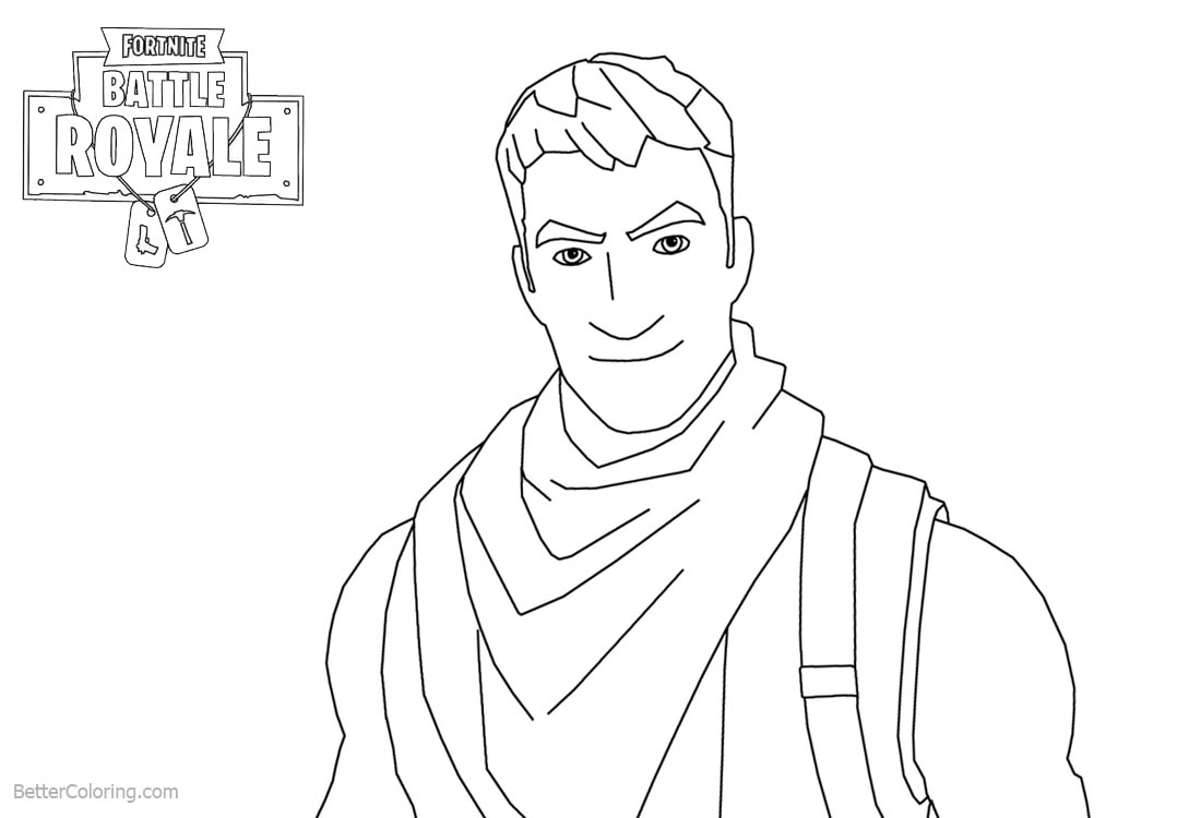 Fortnite Coloring Pages Characters Man Smile printable for free