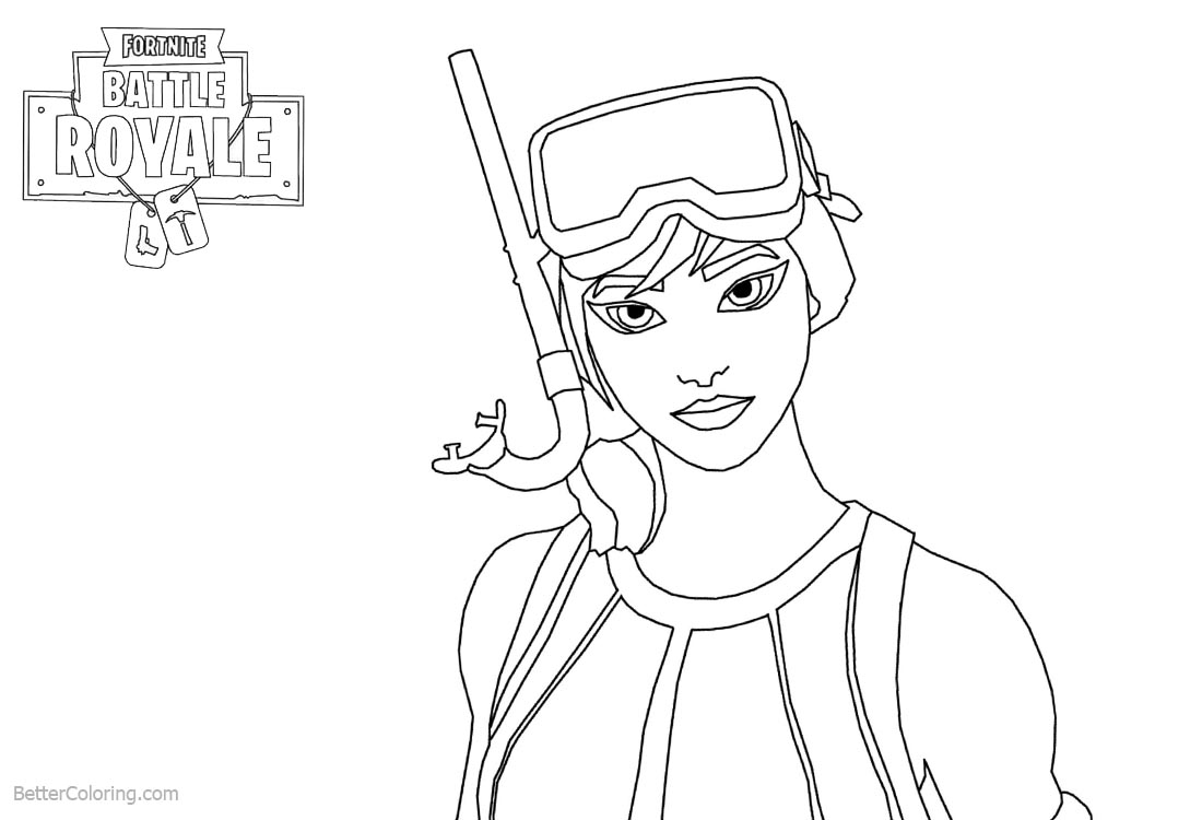 Fortnite coloring pages girl line art free printable for Fortnite disegni da colorare